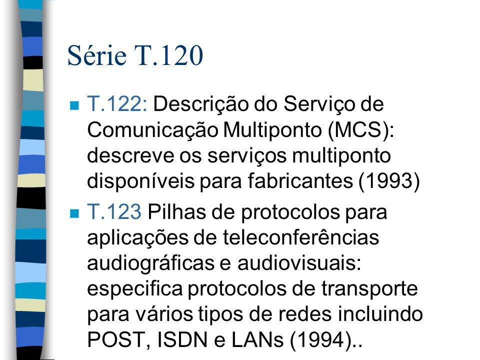 Série T.120 n T.122: Descrição do Serviço de Comunicação Multiponto (MCS): descreve os serviços multiponto disponíveis para fabricantes (1993) n T.123