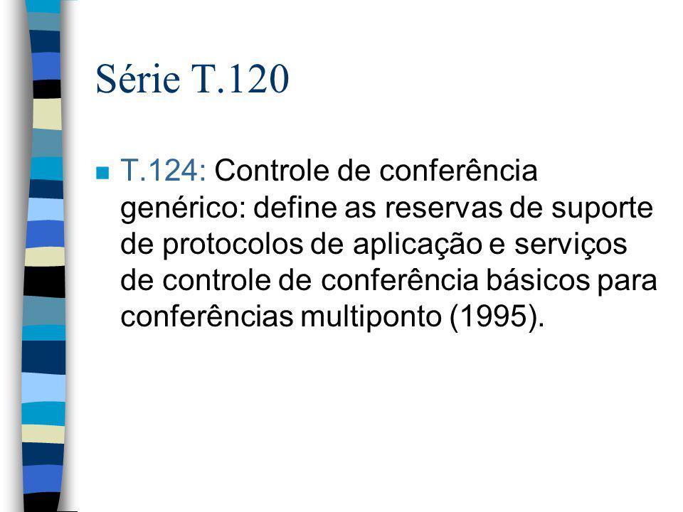 Série T.120 n T.124: Controle de conferência genérico: define as reservas de suporte de protocolos de aplicação e serviços de controle de conferência