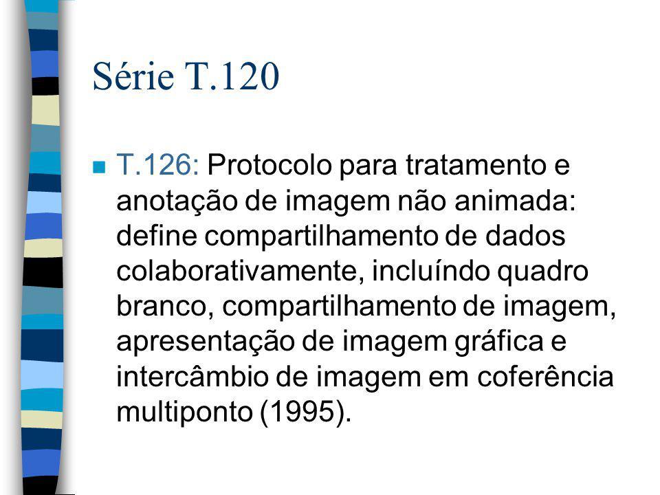 Série T.120 n T.126: Protocolo para tratamento e anotação de imagem não animada: define compartilhamento de dados colaborativamente, incluíndo quadro