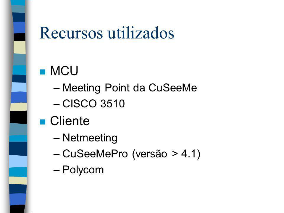 Recursos utilizados n MCU –Meeting Point da CuSeeMe –CISCO 3510 n Cliente –Netmeeting –CuSeeMePro (versão > 4.1) –Polycom