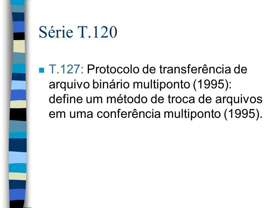 Série T.120 n T.127: Protocolo de transferência de arquivo binário multiponto (1995): define um método de troca de arquivos em uma conferência multipo