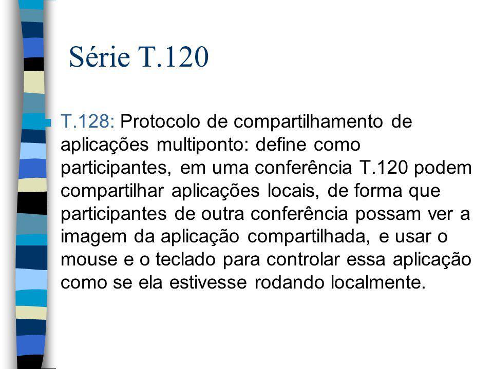Série T.120 n T.128: Protocolo de compartilhamento de aplicações multiponto: define como participantes, em uma conferência T.120 podem compartilhar ap
