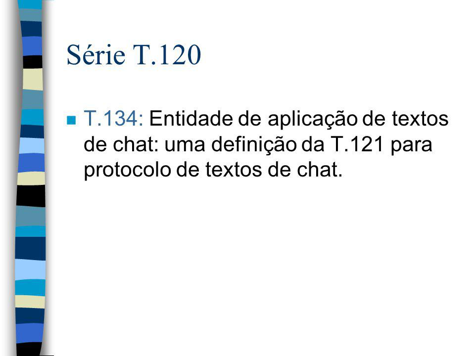Série T.120 n T.134: Entidade de aplicação de textos de chat: uma definição da T.121 para protocolo de textos de chat.