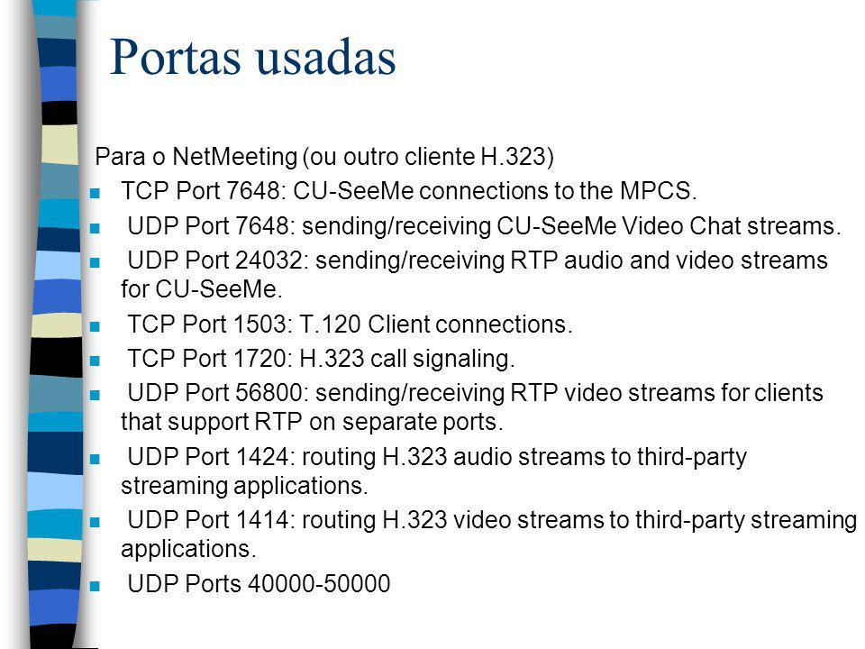 Portas usadas Para o NetMeeting (ou outro cliente H.323) n TCP Port 7648: CU-SeeMe connections to the MPCS. n UDP Port 7648: sending/receiving CU-SeeM