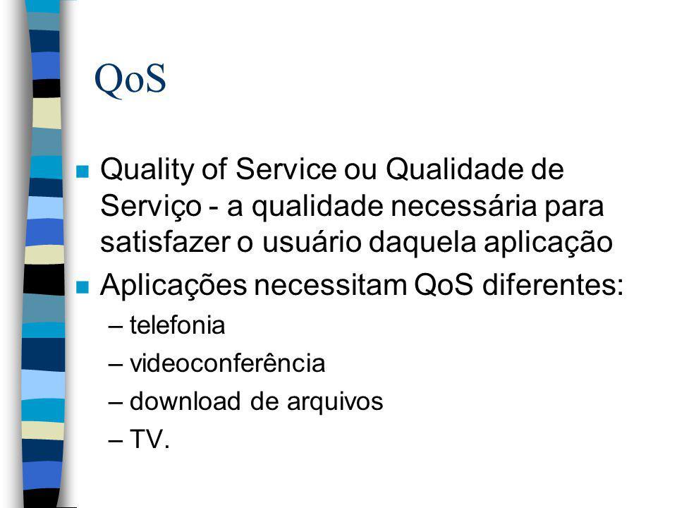 QoS n Quality of Service ou Qualidade de Serviço - a qualidade necessária para satisfazer o usuário daquela aplicação n Aplicações necessitam QoS dife