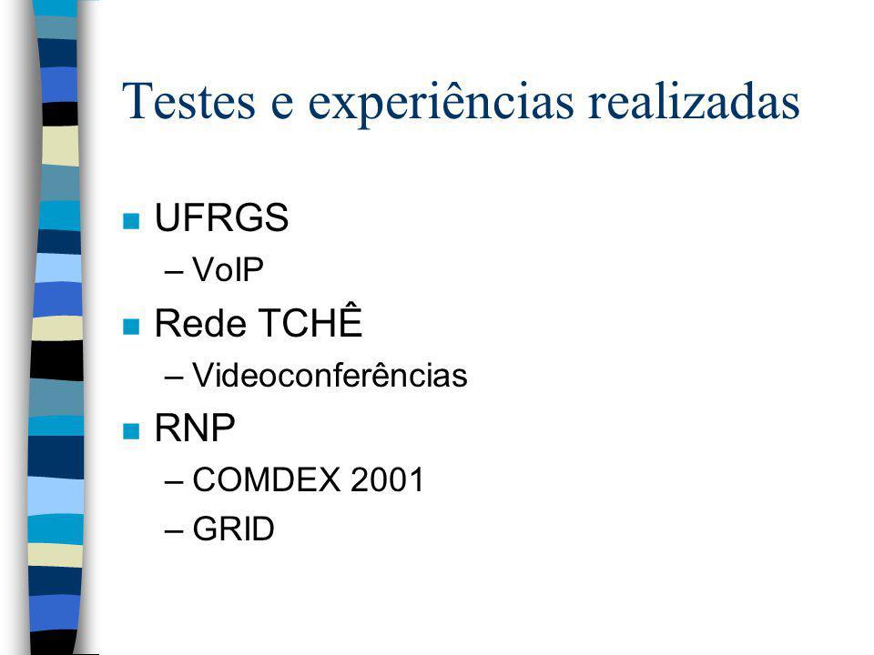 Testes e experiências realizadas n UFRGS –VoIP n Rede TCHÊ –Videoconferências n RNP –COMDEX 2001 –GRID