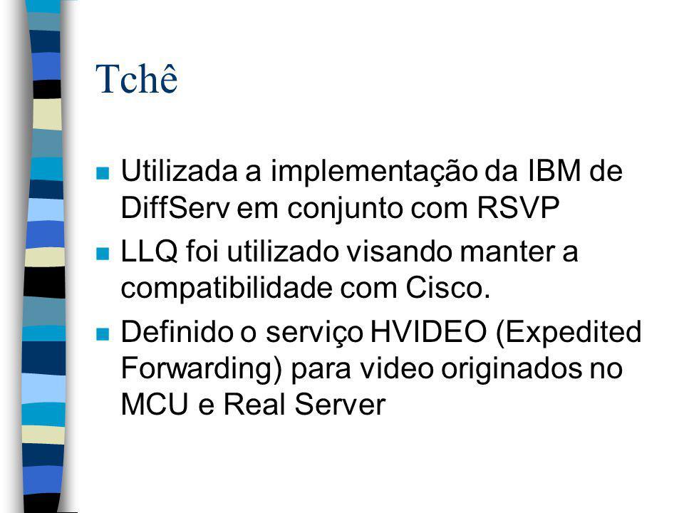 Tchê n Utilizada a implementação da IBM de DiffServ em conjunto com RSVP n LLQ foi utilizado visando manter a compatibilidade com Cisco. n Definido o