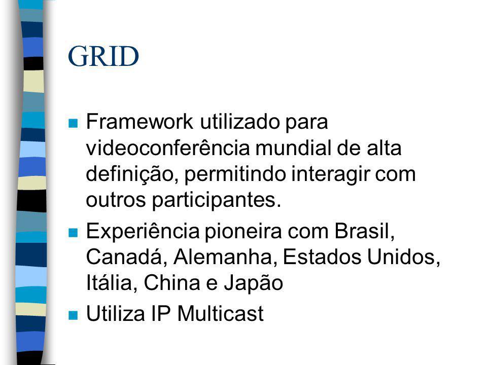 GRID n Framework utilizado para videoconferência mundial de alta definição, permitindo interagir com outros participantes. n Experiência pioneira com