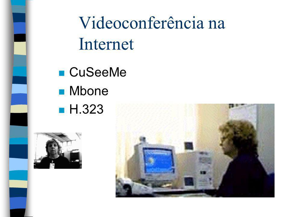 Videoconferência na Internet n CuSeeMe n Mbone n H.323