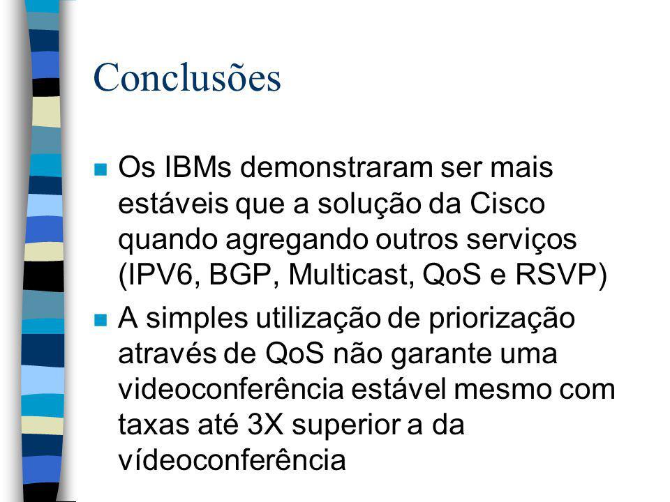Conclusões n Os IBMs demonstraram ser mais estáveis que a solução da Cisco quando agregando outros serviços (IPV6, BGP, Multicast, QoS e RSVP) n A sim