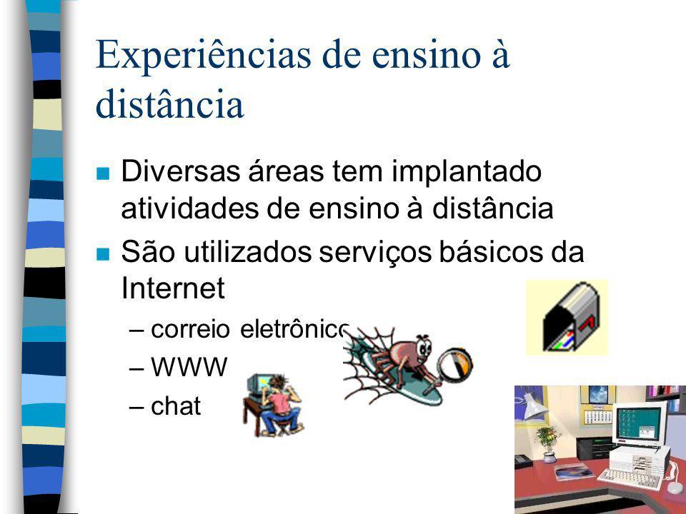 Experiências de ensino à distância n Diversas áreas tem implantado atividades de ensino à distância n São utilizados serviços básicos da Internet –cor