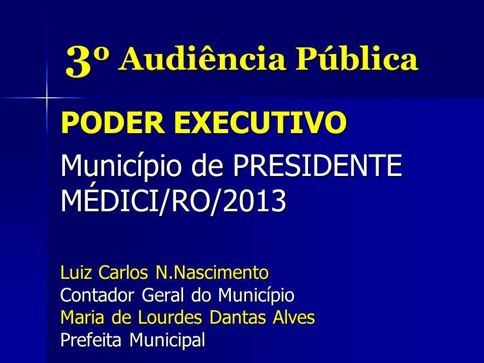 3 º Audiência Pública PODER EXECUTIVO Município de PRESIDENTE MÉDICI/RO/2013 Luiz Carlos N.Nascimento Contador Geral do Município Maria de Lourdes Dantas Alves Prefeita Municipal