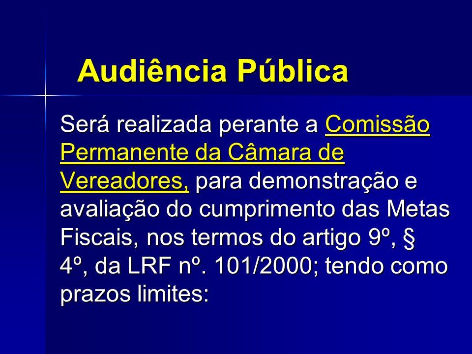 Audiência Pública Será realizada perante a Comissão Permanente da Câmara de Vereadores, para demonstração e avaliação do cumprimento das Metas Fiscais, nos termos do artigo 9º, § 4º, da LRF nº.