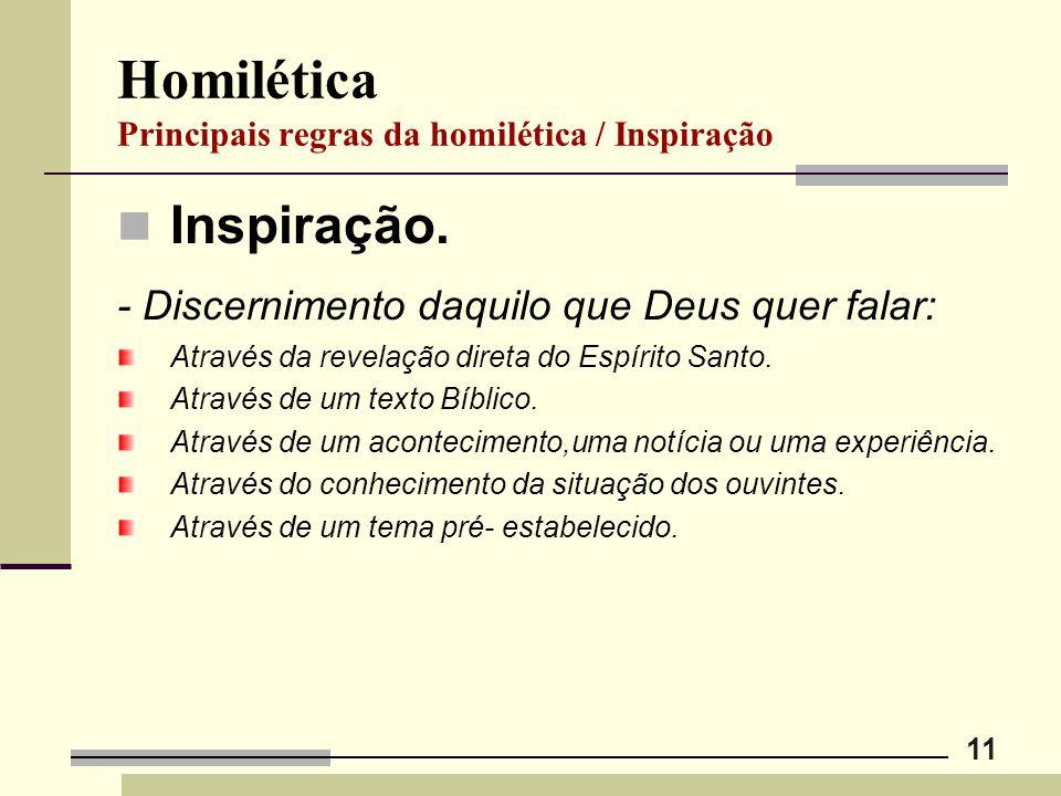 11 Homilética Principais regras da homilética / Inspiração Inspiração. - Discernimento daquilo que Deus quer falar: Através da revelação direta do Esp