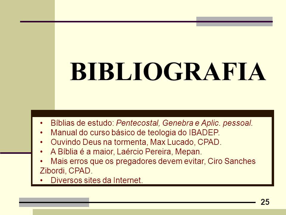 25 BIBLIOGRAFIA Bíblias de estudo: Pentecostal, Genebra e Aplic. pessoal. Manual do curso básico de teologia do IBADEP. Ouvindo Deus na tormenta, Max