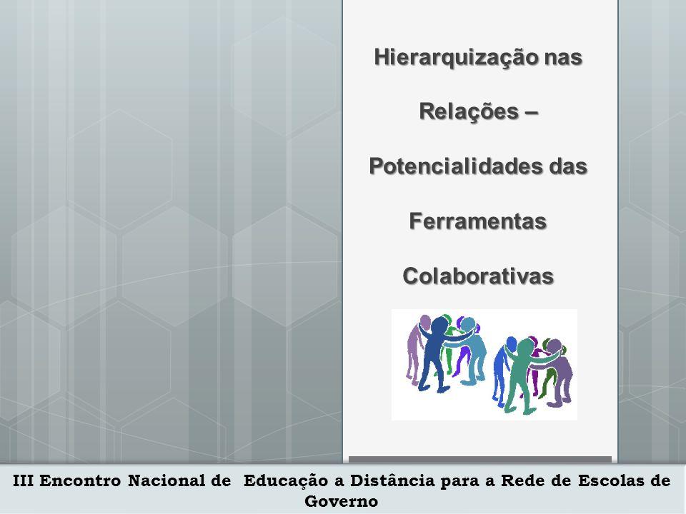 III Encontro Nacional de Educação a Distância para a Rede de Escolas de Governo 29/10/2010 Ferramentas Colaborativas Web-participantes Apresentação Chat Privado & Grupos Desktop Web Cam Voz dos Participantes