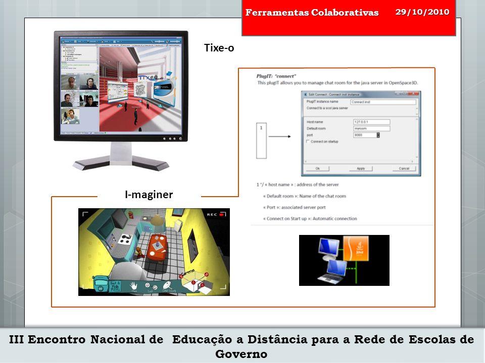 III Encontro Nacional de Educação a Distância para a Rede de Escolas de Governo 29/10/2010 Ferramentas Colaborativas Tixe-o I-maginer