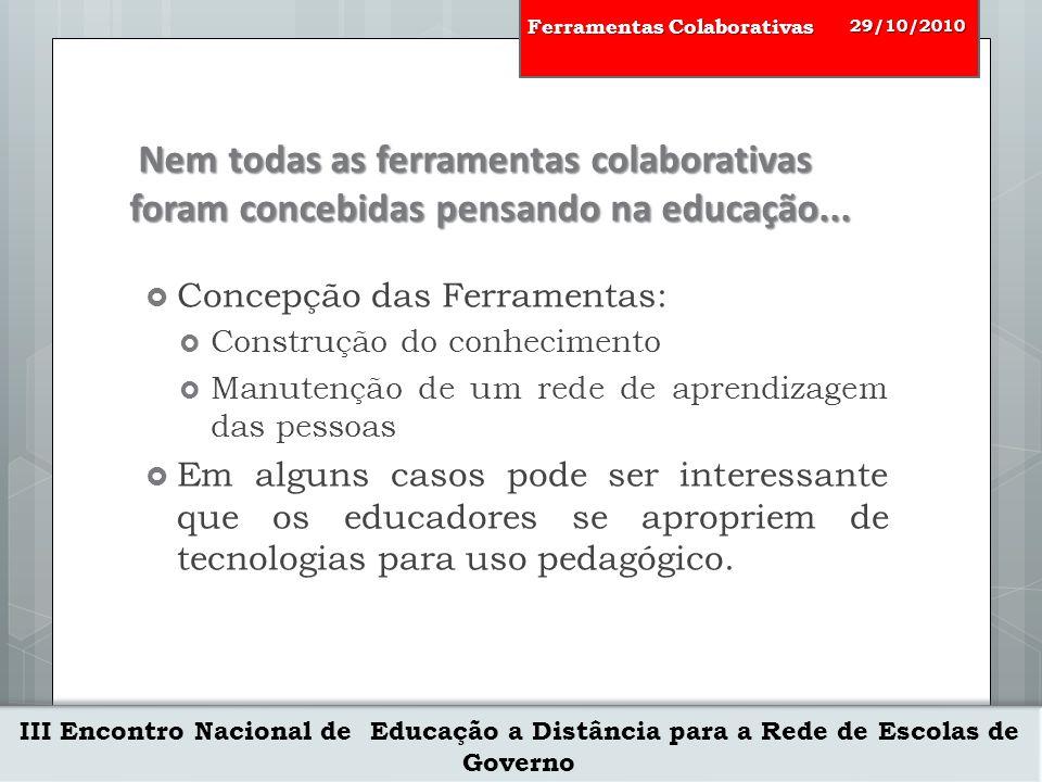 III Encontro Nacional de Educação a Distância para a Rede de Escolas de Governo 29/10/2010 Ferramentas Colaborativas Metáfora de Affordance