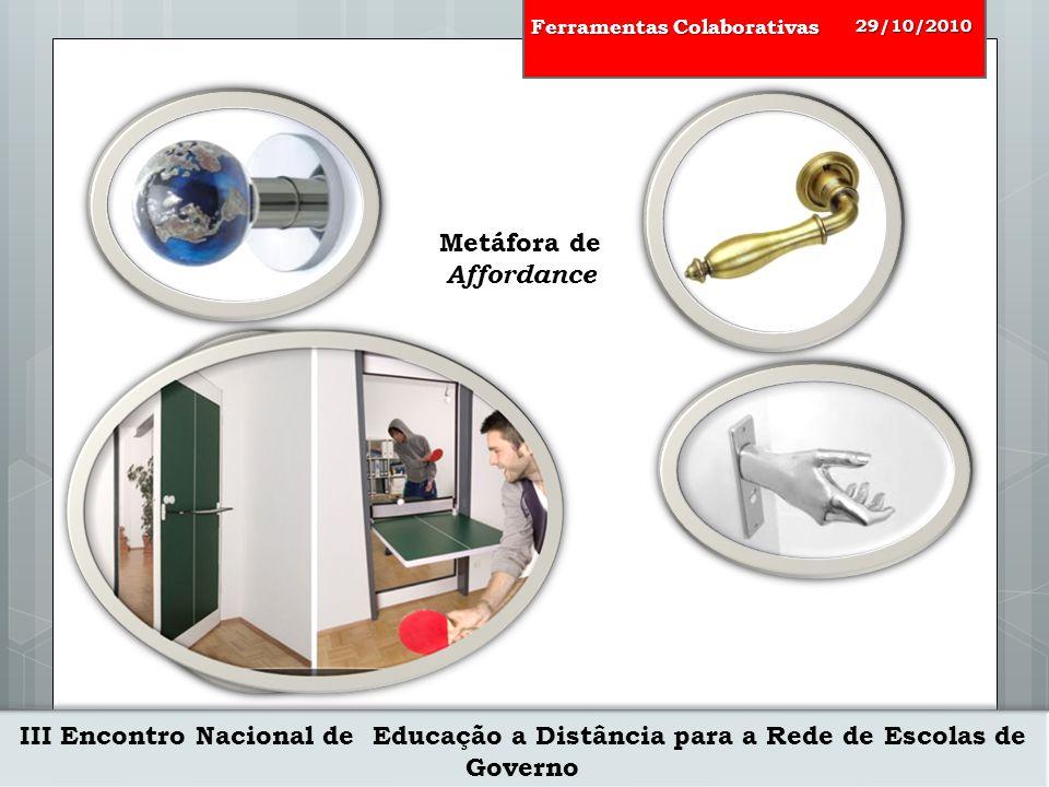 III Encontro Nacional de Educação a Distância para a Rede de Escolas de Governo 29/10/2010 Ferramentas Colaborativas Educação a Distância