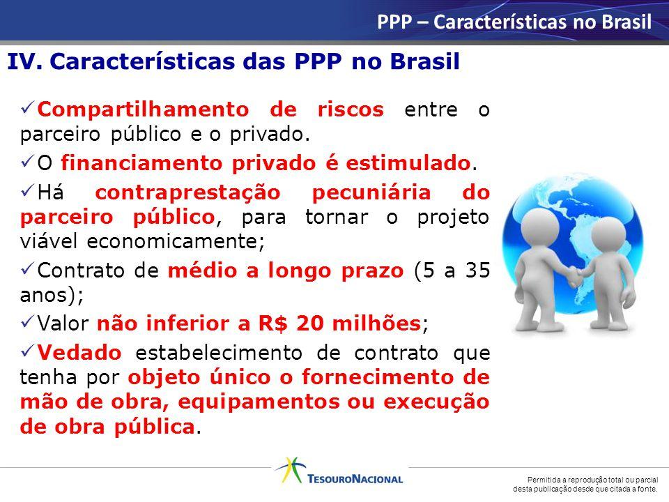 Permitida a reprodução total ou parcial desta publicação desde que citada a fonte. IV. Características das PPP no Brasil PPP – Características no Bras
