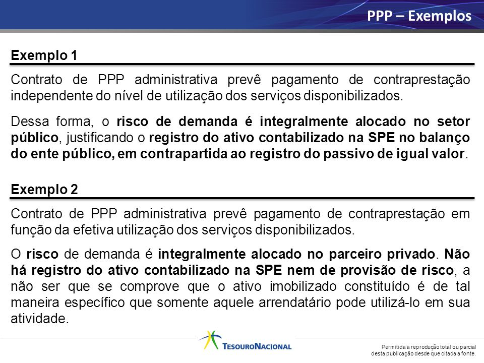 Permitida a reprodução total ou parcial desta publicação desde que citada a fonte. Exemplo 1 Contrato de PPP administrativa prevê pagamento de contrap