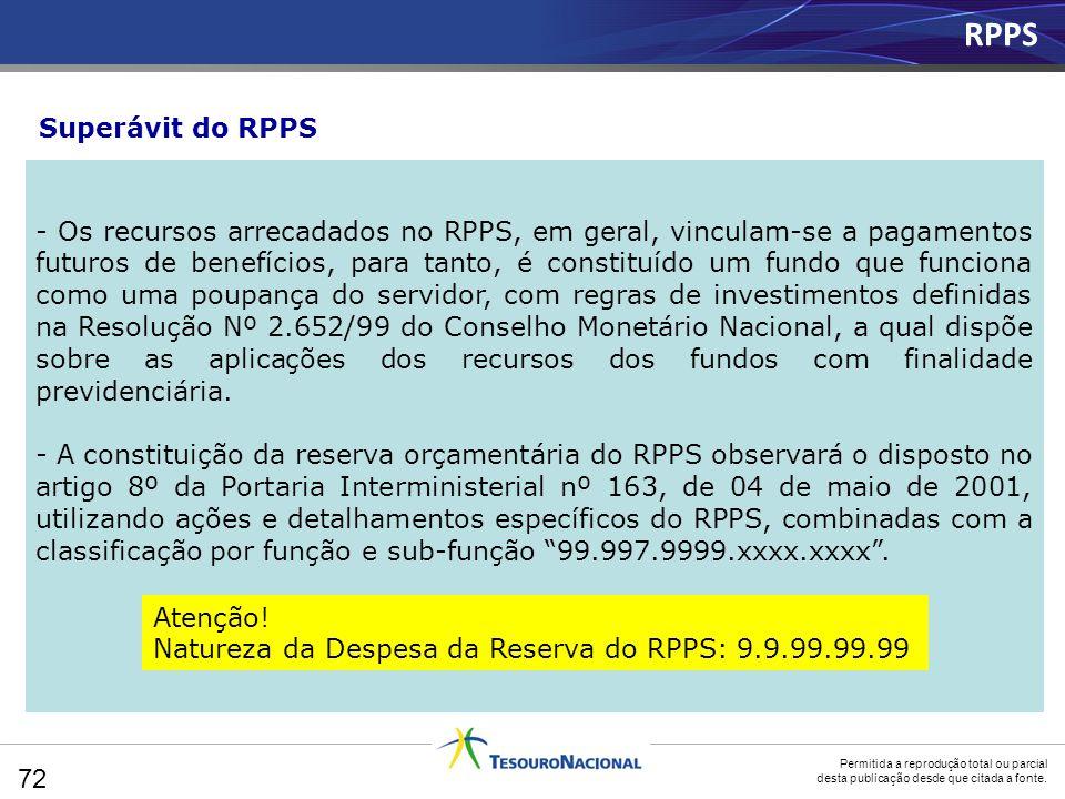 Permitida a reprodução total ou parcial desta publicação desde que citada a fonte. - Os recursos arrecadados no RPPS, em geral, vinculam-se a pagament