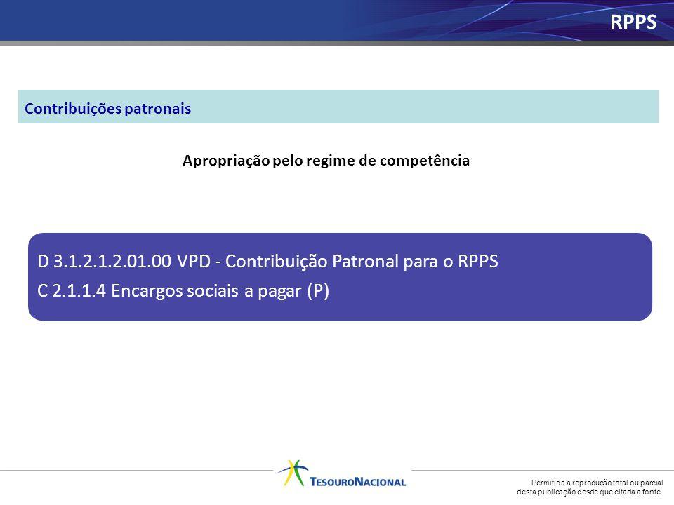 Permitida a reprodução total ou parcial desta publicação desde que citada a fonte. Apropriação pelo regime de competência D 3.1.2.1.2.01.00 VPD - Cont