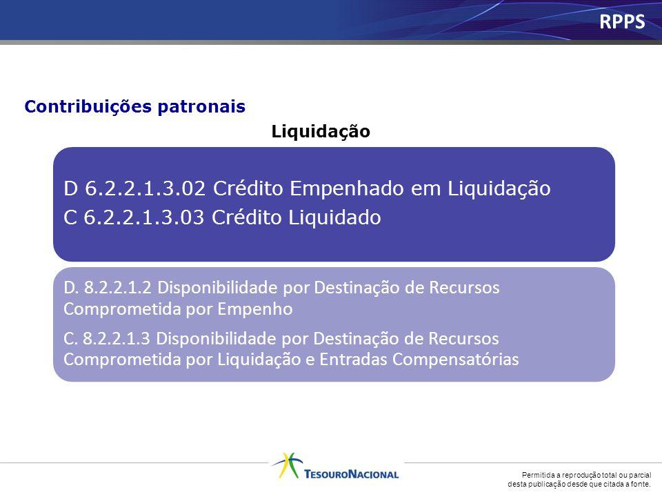 Permitida a reprodução total ou parcial desta publicação desde que citada a fonte. D 6.2.2.1.3.02 Crédito Empenhado em Liquidação C 6.2.2.1.3.03 Crédi