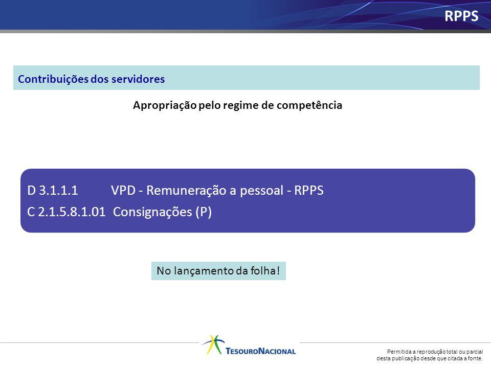 Permitida a reprodução total ou parcial desta publicação desde que citada a fonte. Apropriação pelo regime de competência D 3.1.1.1 VPD - Remuneração