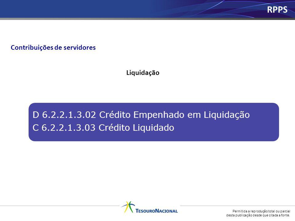 Permitida a reprodução total ou parcial desta publicação desde que citada a fonte. Liquidação Contribuições de servidores D 6.2.2.1.3.02 Crédito Empen