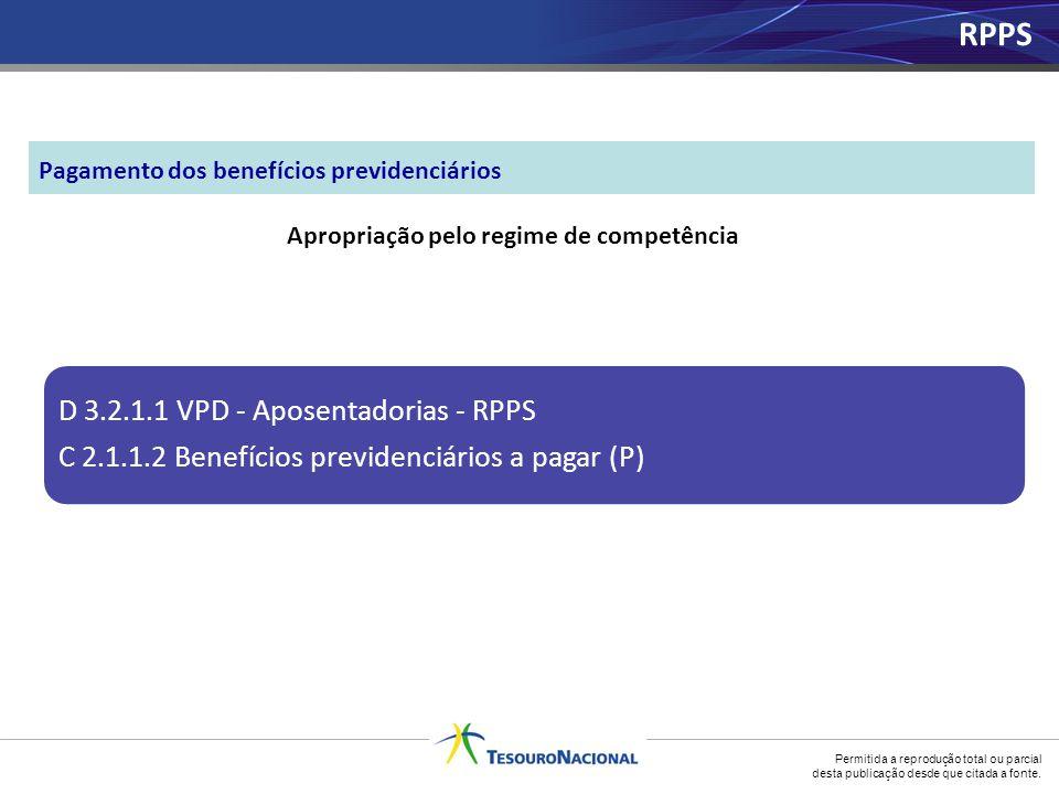 Permitida a reprodução total ou parcial desta publicação desde que citada a fonte. Apropriação pelo regime de competência D 3.2.1.1 VPD - Aposentadori