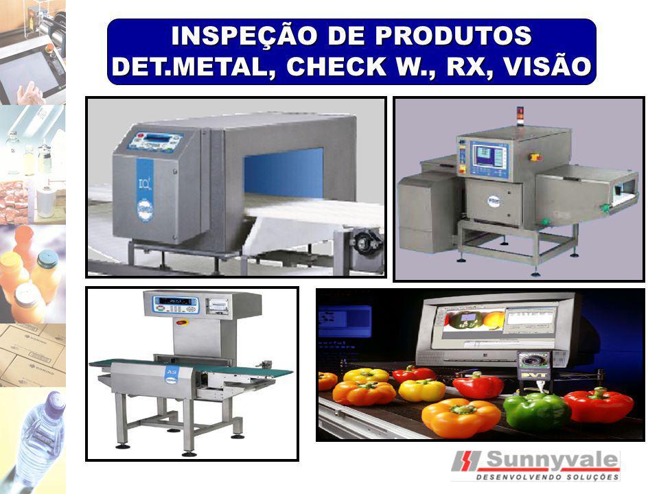 INSPEÇÃO DE PRODUTOS DET.METAL, CHECK W., RX, VISÃO