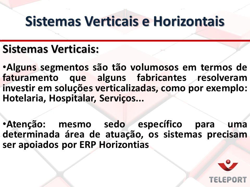 Sistemas Verticais: Alguns segmentos são tão volumosos em termos de faturamento que alguns fabricantes resolveram investir em soluções verticalizadas, como por exemplo: Hotelaria, Hospitalar, Serviços...