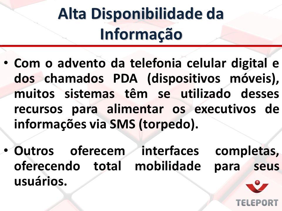 Alta Disponibilidade da Informação Com o advento da telefonia celular digital e dos chamados PDA (dispositivos móveis), muitos sistemas têm se utilizado desses recursos para alimentar os executivos de informações via SMS (torpedo).