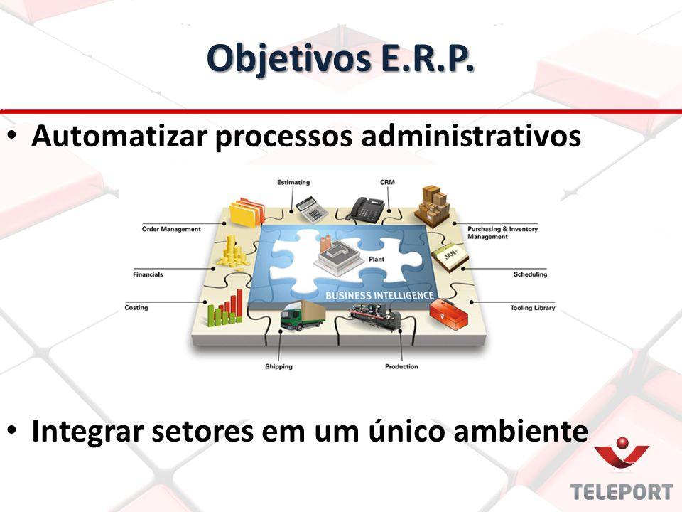 Benefícios E.R.P. Agilidade para os processos Evita retrabalho e possíveis falhas humanas