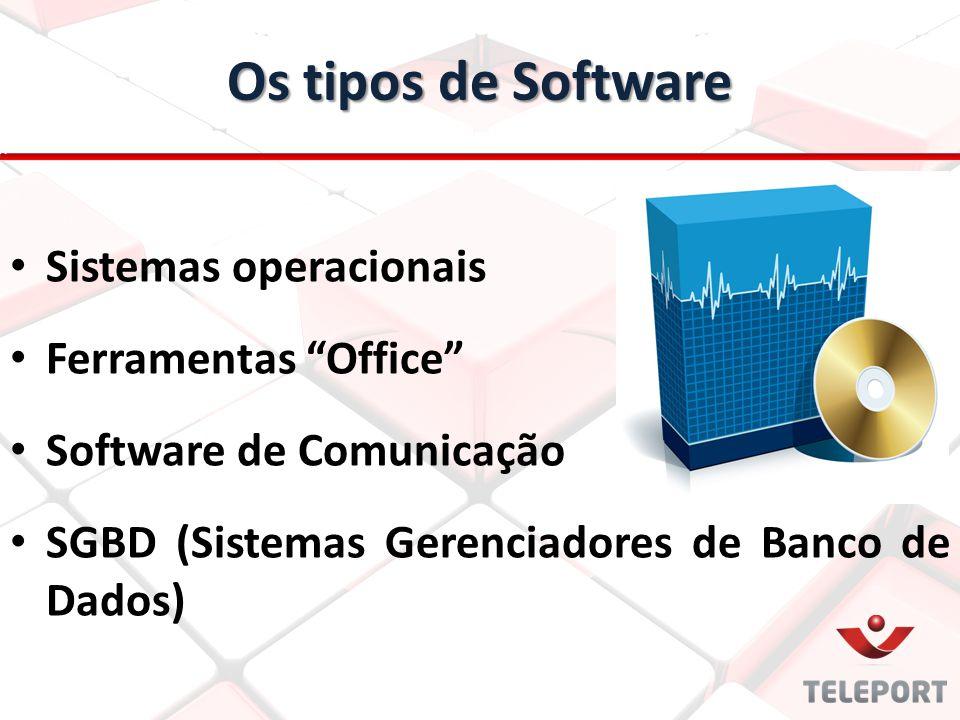 """Sistemas operacionais Ferramentas """"Office"""" Software de Comunicação SGBD (Sistemas Gerenciadores de Banco de Dados) Os tipos de Software"""