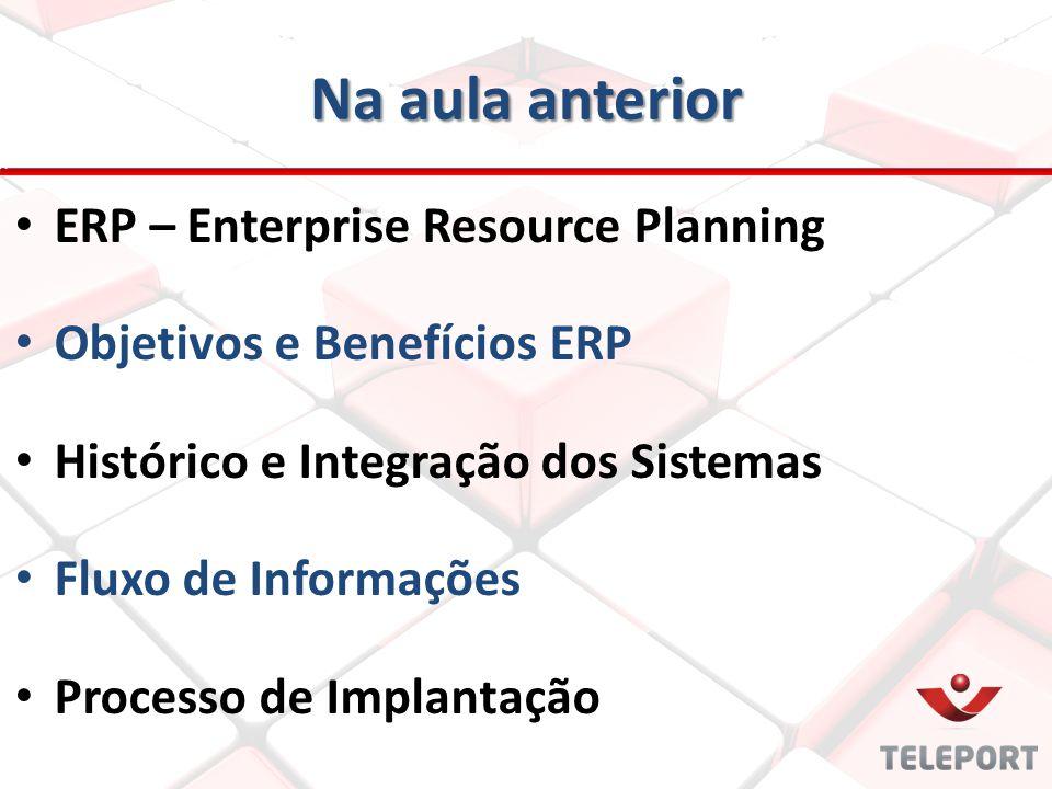 Na aula anterior ERP – Enterprise Resource Planning Objetivos e Benefícios ERP Histórico e Integração dos Sistemas Fluxo de Informações Processo de Im