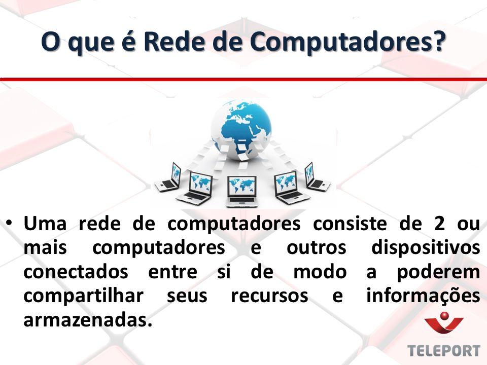 O que é Rede de Computadores? Uma rede de computadores consiste de 2 ou mais computadores e outros dispositivos conectados entre si de modo a poderem