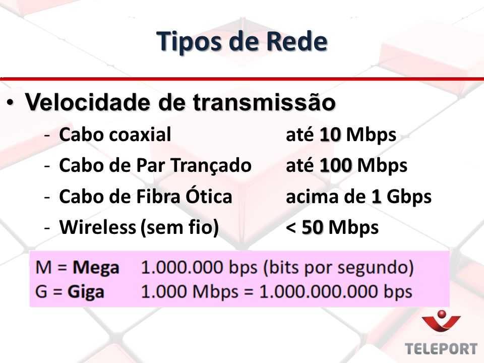 Tipos de Rede 10 -Cabo coaxial até 10 Mbps 100 -Cabo de Par Trançadoaté 100 Mbps 1 -Cabo de Fibra Óticaacima de 1 Gbps 50 -Wireless (sem fio)< 50 Mbps