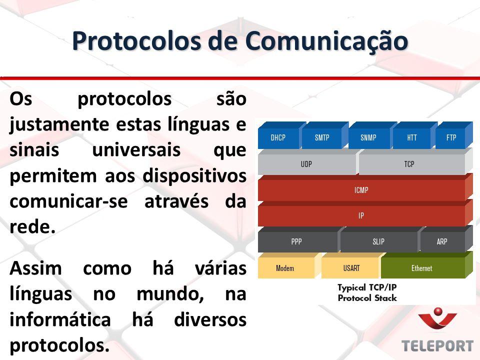Protocolos de Comunicação Os protocolos são justamente estas línguas e sinais universais que permitem aos dispositivos comunicar-se através da rede. A