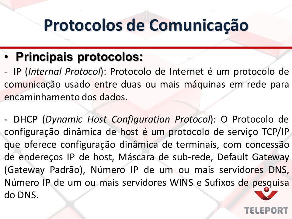 Protocolos de Comunicação -IP -IP (Internal Protocol): Protocolo de Internet é um protocolo de comunicação usado entre duas ou mais máquinas em rede p
