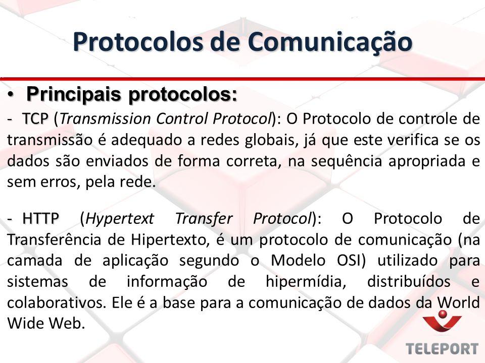Protocolos de Comunicação -TCP -TCP (Transmission Control Protocol): O Protocolo de controle de transmissão é adequado a redes globais, já que este ve