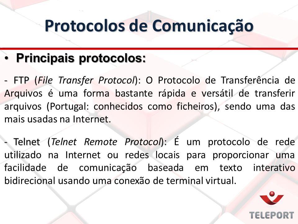 Protocolos de Comunicação -FTP -FTP (File Transfer Protocol): O Protocolo de Transferência de Arquivos é uma forma bastante rápida e versátil de trans