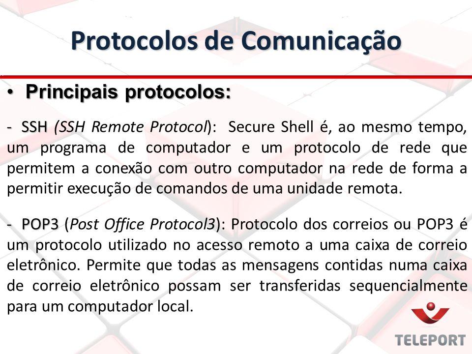 Protocolos de Comunicação -SSH -SSH (SSH Remote Protocol): Secure Shell é, ao mesmo tempo, um programa de computador e um protocolo de rede que permit