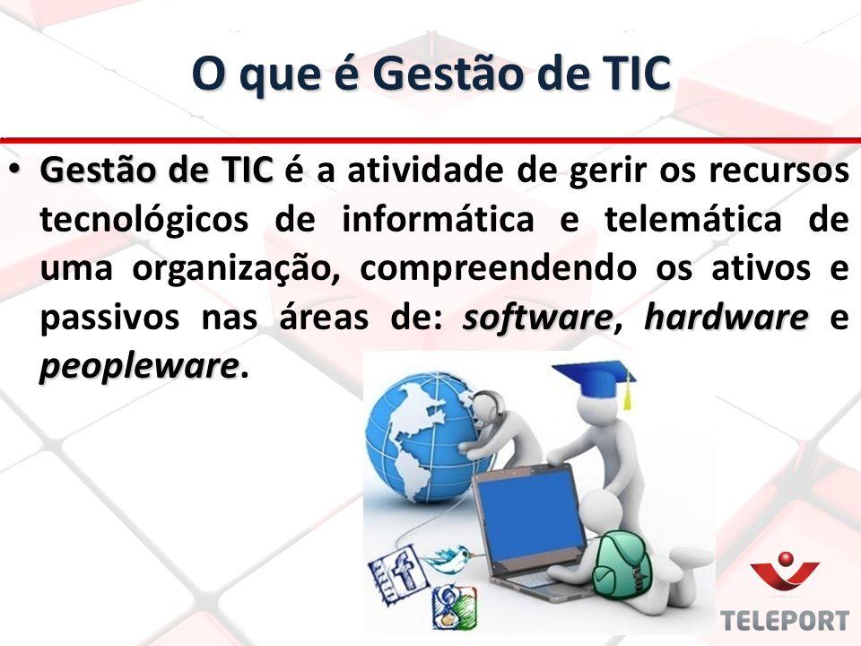 O que é Gestão de TIC Gestão de TIC softwarehardware peopleware Gestão de TIC é a atividade de gerir os recursos tecnológicos de informática e telemát