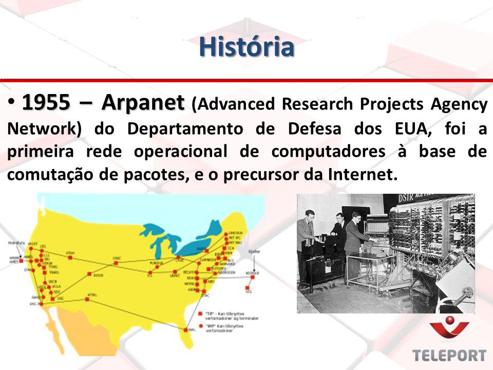 História 1955 – Arpanet 1955 – Arpanet (Advanced Research Projects Agency Network) do Departamento de Defesa dos EUA, foi a primeira rede operacional