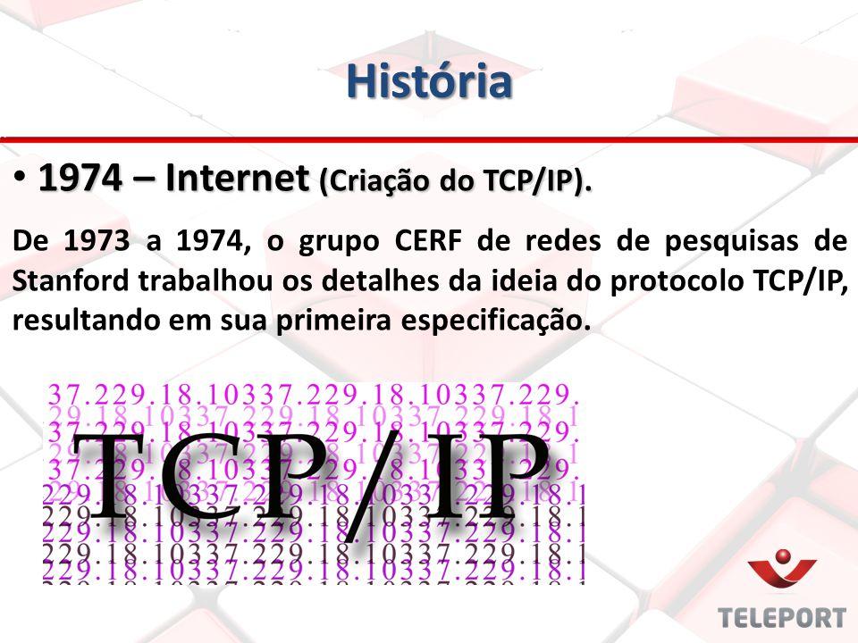 História 1974 – Internet (Criação do TCP/IP). 1974 – Internet (Criação do TCP/IP). De 1973 a 1974, o grupo CERF de redes de pesquisas de Stanford trab