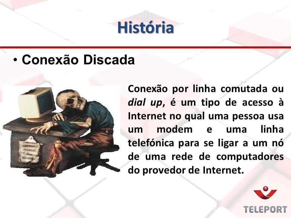 História Conexão por linha comutada ou dial up, é um tipo de acesso à Internet no qual uma pessoa usa um modem e uma linha telefónica para se ligar a