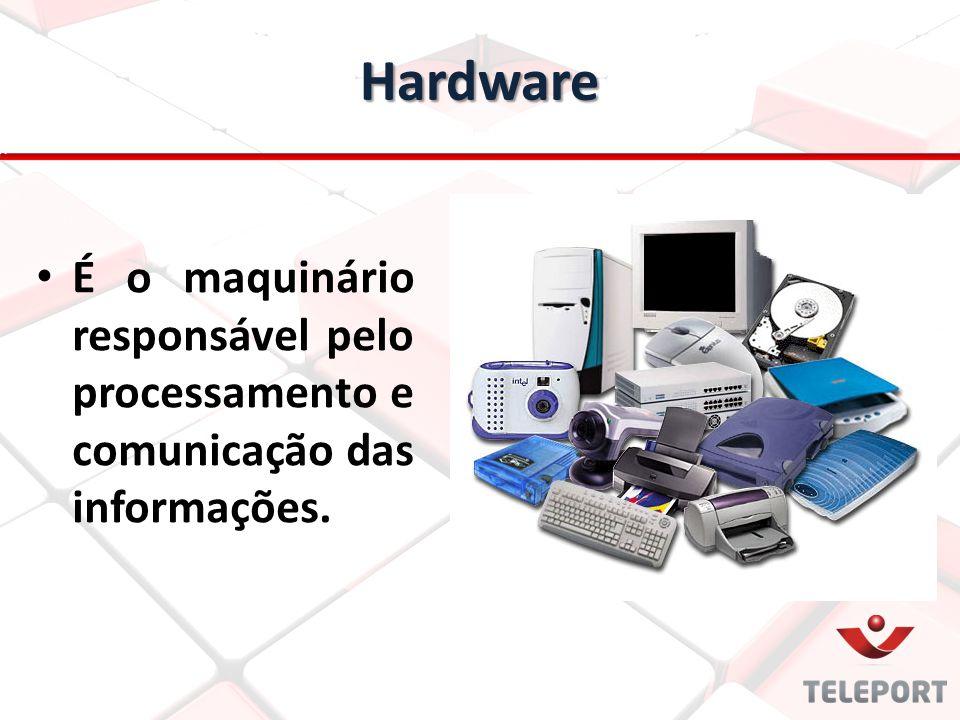 É o maquinário responsável pelo processamento e comunicação das informações. Hardware