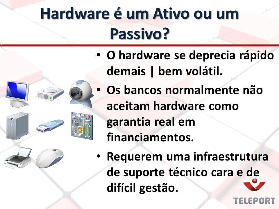 Hardware é um Ativo ou um Passivo? O hardware se deprecia rápido demais | bem volátil. Os bancos normalmente não aceitam hardware como garantia real e